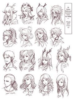 Inspiration: Hair & Expressions ----Manga Art Drawing Sketching Head Hairstyle---- [[[Batch3 by omocha-san on deviantART]]]