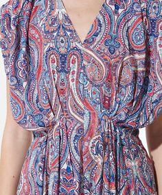 Multi-coloured cashmere print dress - OYSHO