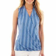 Liz Claiborne Sleeveless Halter Twist Knit Top - JCPenney