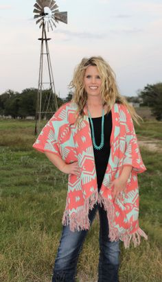 Coral Mint Tribal Cardigan Sweater with Fringe (http://www.thetexascowgirl.com/coral-mint-tribal-cardigan-sweater-with-fringe/)