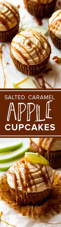 Moist & flavorful apple spice cupcakes with salted caramel frosting on top!! Recipe sallysbakingaddic...