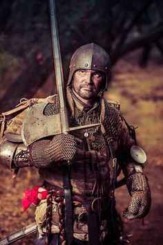 Armor sets military campaign / with friends. Armored German landsknecht, Medieval weapons and armor, German mercenarie, German katzbalger, German flail, poleaxe hammer, gambeson, Bishop's mantel, jack chains, splint bracers, chainmail gloves, open face sallet.
