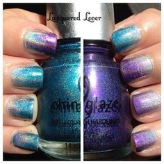"""China Glaze Holographic Gradient """"Carly manicure"""""""