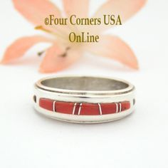 Four Corners USA Online - Size 8 Red Coral Inlay Ring Native American Wilbert Muskett Jr WB-1637 Sterling Silver Jewelry, $135.00 (http://stores.fourcornersusaonline.com/size-8-red-coral-inlay-ring-native-american-wilbert-muskett-jr-wb-1637-sterling-silver-jewelry/)