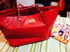 Red bag is ❤️ Nine west Forever Red, Red Bags, Michael Kors Jet Set, Nine West, Collections, Tote Bag, My Love, How To Make, Fashion