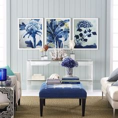 In-house photography captures blue and white details with our Chinese Pottery Wall Art. Blue Rooms, White Rooms, Blue Walls, Blue Wall Decor, White Decor, Living Room Grey, Living Room Decor, Traditional Furniture, Modern Furniture