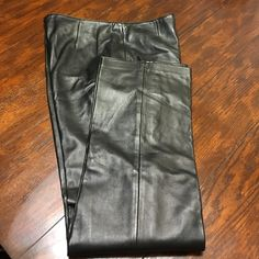 "Genuine Leather Black straight fit pants S 10 Soft ,lightweight,left side zipper,newer worn,perfectly good pants by Margaret Godfrey.Length inseam 31,5"" Margaret Godfrey Pants Trousers"