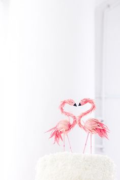 *~* // How cute are these?! // Flamingo Cake Topper from BHLDN // via Studio DIY
