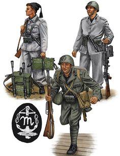 """R:S:I: - Blackshirts 'Mussolini' Units"""" • Light machine-gun team, Divisione Corazzata 'M'; Italy, 1943 • Camicia Nera, Gruppo Battaglioni 'M' da Sbarco; Italy, 1942"""