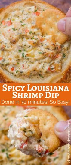 Spicy Louisiana Shrimp Dip is a spicy, creamy dip with cajun spices that you can make in 30 minutes. It'll be the hit of your party! Spicy Louisiana Shrimp Dip - Dinner Then Dessert Seafood Dishes, Seafood Recipes, New Recipes, Cooking Recipes, Favorite Recipes, Seafood Dip, Recipies, Cajun Crab Dip, Healthy Dip Recipes