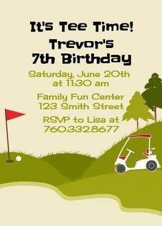 Golf Cart - Birthday Party Invitations Visit www.candlesandfavors.com for personalized invitations, thank you notes and party favors!!!