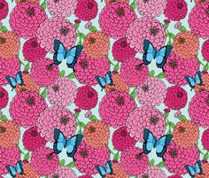 Butterfly Zinnia Floral fabric by shellypenko on Spoonflower - custom fabric