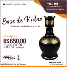 Base de Vidro para Arguile Bohemian Jumbo Black And Gold POR APENAS 650,00 Em até 18x de R$ 47,22 ou R$ 617,50 via depósito  Compre Online: http://www.lojadoarguile.com.br/bohemian-jumbo-black-and-gold