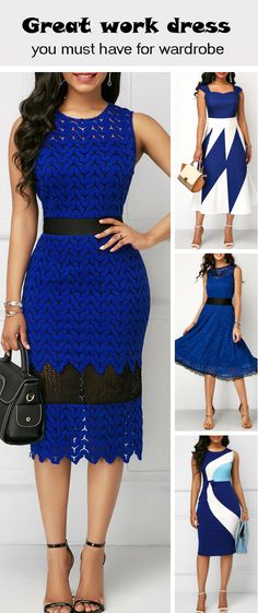 Are you looking for a special dress for work? These elegant dresses will never be wrong. Simple Dresses, Elegant Dresses, Pretty Dresses, Dresses For Work, African Wear, African Dress, African Fashion Dresses, Fashion Outfits, Womens Fashion