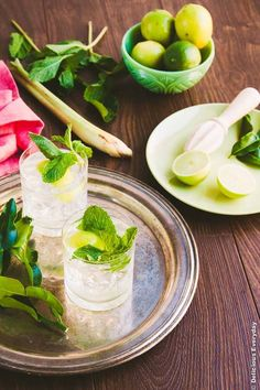 Lemongrass, mint, ginger and kaffir lime syrup - the perfect refreshing drink on a hot summer day. It is also fabulous in cocktails too   Click for the recipe