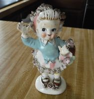 Vintage Lipper & Mann Figurine Young Girl waving with her basket of flowers