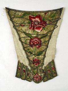 Stomacher Date: ca. 1720 Culture: British Medium: metal, silk, flax Accession Number: 1984.150