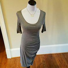 Banana Republic Gray Fitted Shirt Dress