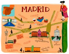 Funny map of Madrid main avenues by Anne Smith Travel Maps, Travel Posters, Funny Maps, Madrid Travel, Places In Spain, Map Globe, Travel Illustration, Flat Illustration, Hand Drawn Lettering