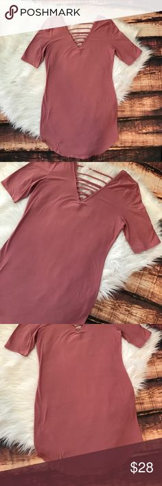 Sale!! << Mauve Rose Strappy V Dress >> This baby is the perfect on trend color, has cute sexy and trendy strappy detail, and is amazingly soft!! Like.... super super soft! Tight fitting, has a great fit and length!  Fits true to size Boutique Dresses