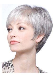 Pexie Cut Straight Grey Synthetic Wig