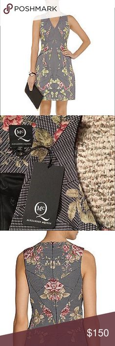 McQ Alexander McQueen Printed Faille Dress 36 0 XS Brand new with tags! Stunning and perfectly structured, this McQ Alexander McQueen Printed Cotton-Blend Faille Dress in size IT 36 (= US 0, XS).  Retailed for $800, authentic purchased personally from Net-A-Porter. From a pet free, smoke free home.  Measurements Size IT 36 Length: 32.5 inches Bust: 31.5 inches Waist: 26 inches McQ Alexander McQueen Dresses