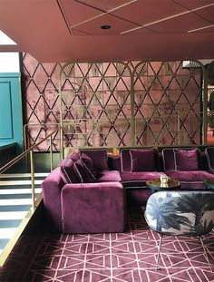 Purple Sofa and hues on rug and walls Haymarket Stockholm, luxury hotels, art deco, hotel lounge, velvet. Design Hotel, Restaurant Design, Lounge Design, Sofa Design, Design Design, Hotel Lounge, Bar Lounge, Lobby Lounge, Salon Art Deco