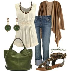 Olive, cream and brown casual