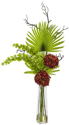 nearly natural Hydrangea, Bells Of Ireland & Palm Frond Artificial Floral Arrangement - vivian Altar Flowers, Church Flower Arrangements, Arreglos Ikebana, Tall Glass Vases, Artificial Floral Arrangements, Hydrangea Not Blooming, Palm Fronds, Orchid Care, Arte Floral