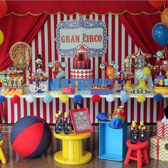 Circo bautizo y cumpleaños Clown Party, Circus Carnival Party, Circus Theme Party, Carnival Themes, Circus Wedding, Carnival Costumes, Dumbo Birthday Party, 1st Birthday Party Themes, Carnival Birthday Parties