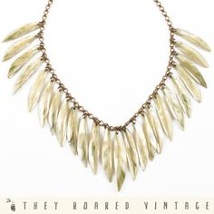 70s Vintage Necklace Abalone Shell Teeth  by TheyRoaredVintage, $90.00