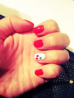 essie lollipop and orly white french with cherry art