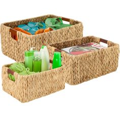 Keep supplies and extra accessories neatly stored and organized in your home or office with the Banana Leaf Storage Baskets.