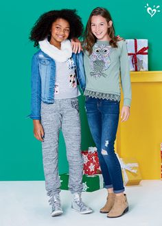 Jeans + booties or joggers + sneakers. What's her holiday style? Justice Outfits, Justice Shorts, Justice Clothing, Tween Fashion, Diva Fashion, School Fashion, Sporty Outfits, Kids Outfits, Cute Outfits