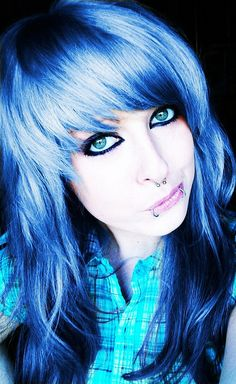 blue long emo scene hair style for girls by ♥ BiBi BaRbArIc ♥, via Flickr
