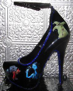 Tim Burton's nightmare before christmas black stilettos with blue crystal rhinestones and glittered soles