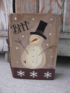 Primitive Brrr Snowman and Snowflakes Hand by GainersCreekCrafts