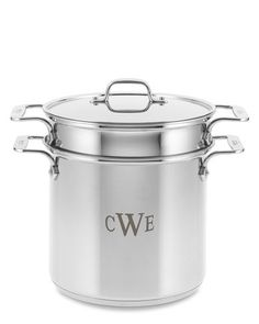 For the cook who has everything - a monogrammed pot! I have this pot (sans monogram) and I use it for everything - steaming artichokes and corn, making pasta, persimmon pudding, lobsters...and it works equally well without the monogram (but it's not as cool).