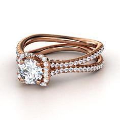 Round Diamond 14K Rose Gold Ring with White Sapphire | Miranda Ring | Gemvara