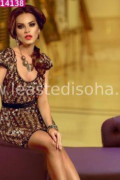 """L'abito Betty è un grazioso abito corto a tubino ricoperto da paillettes marroni, dorate e nere.  Un'esplosione di classe ed eleganza, perfetto per feste e cerimonie. ➽➽ Contattaci su Pinterest o manda """"pin"""" via sms/WhatsApp al 373 7616355 per ricevere un #BUONO #SCONTO esclusivo!  #leastedisoha #moda #abbigliamento #donna #elegante"""