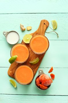 """Coconut Papaya Smoothie """"Creamy papaya smoothie infused with lime, ginger, carrot and coconut milk! Just 6 ingredients in this nutrient-rich, naturally-sweetened smoothie - perfect for breakfast or a..."""
