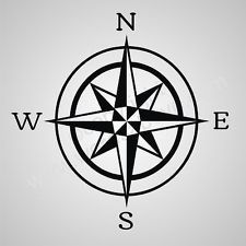 COMPASS Rose Vinyl Wall Quote Word Decal Nautical Boat Sail Beach Decor