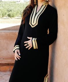 Black Moroccan Caftan Dress