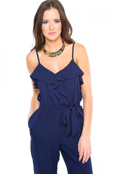 RUFFLED JUMPSUIT - NAVY