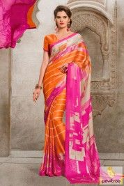 Pink and Orange Color Cotton Formal Saree #saree, #casualsaree more: http://www.pavitraa.in/wholesale-catalog/