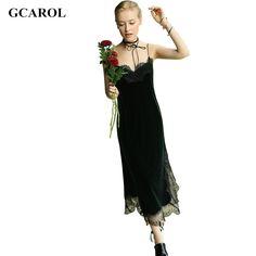 GCAROL Women Velvet Lace Spliced Straps Dress Euro Style Vintage Sexy Basic Long Dress 2 Colors For 4 Season – butee.net