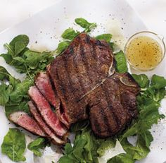 Porterhouse Steak with Arugula Salad - Recipe - FineCooking Wine Recipes, Beef Recipes, Italian Recipes, Great Recipes, Cooking Recipes, Healthy Recipes, Cooking Ideas, Healthy Eats, Recipe Ideas