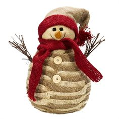 Allstate Floral & Craft Tall Burlap Snowman Decoration