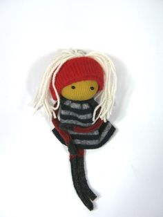 Black and red rag doll White hair Eco friendly toy  OOAK Felted wool Upcycled sweaters Soft scrap dolly. , via Etsy.