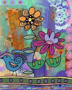 Whimsical Bird and Garden Collage Art Print by BethNadlerArt, $15.00